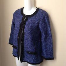 Sale NWT Ladies PP Cardican Sweater Blue Black Glitter 3/4 Sleevs Boucle Petite