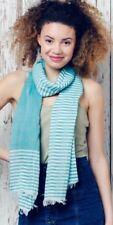 BNWT White & Turquoise Striped Cute Nautical Summer Scarf Hijab Beach Sarong