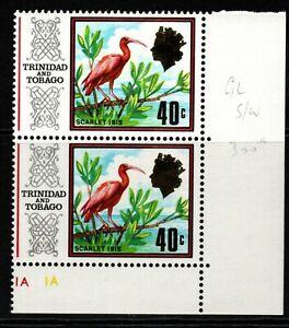 TRINIDAD & TOBAGO SG350a 1972 40c BIRDS DEFINITIVE GLAZED PAPER PAIR MNH