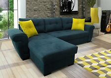 NEW Corner Sofa Bed with Storage.NAVY soft Fabric LEFT or Right TOP Quality
