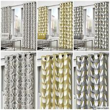 GEOMETRIC FLORAL Lined Ready Made CURTAINS EYELET Ring Top PAIR Grey Yellow