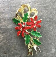 Vintage Gerry's Poinsettia Flower And Holly Christmas Pin Brooch