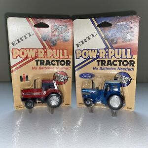 Lot Of 2 Ertl POW-R-PULL TRACTORS 4091&4093 New In Package Free Ship Rare!