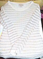 BANANA REPUBLIC Silver & White Striped Lightweight Sweater, Women's Medium  #D48