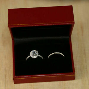 2.70 Ct Oval Cut Diamond Engagement Ring 14K White Gold Rings Band Set Size 5