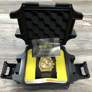 Invicta 18328 Akula Reserve Ladies 40mm Stainless Gold Tone Bezel Leather Strap