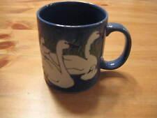 Vintage Embossed Coffee Mug Swans Swimming Signed