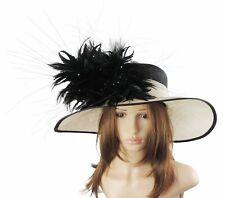 Cream Black Feather Hat Ascot Kentucky Derby Proms   *SAMPLE SALE