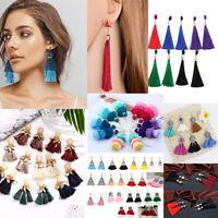 Women Ladies Bohemian Earrings Jewelry Long Tassel Fringe Boho Dangle Jewelry 12