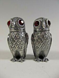 CONTINENTAL SILVER OWL SALT AND PEPPER POTS