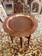Moroccan Vintage Rare Traditional Brass Tray Top Round Carved Wood *RARE*