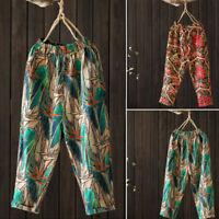 UK Women Floral Cotton Wide Leg Harem Pants Causal Loose Elastic Waist Trousers
