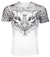 Xtreme Couture AFFLICTION Mens T-Shirt LEGENDARY Skulls WHITE Biker MMA $40