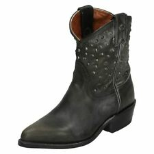 Block Leather Pull On Cowboy, Western Boots for Women