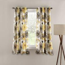 Lush Decor Leah Floral Curtains Room Darkening Window Panel Set, Yellow/Grey