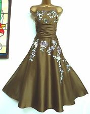 MONSOON ✩ STUNNING YASMIN OLIVE GREEN EMBROIDERED SILK COCKTAIL DRESS ✩ UK 12