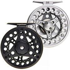 Fly Reel 1/2/3/4/5/6/7/8 WT Grande Arbor plata/negro de aluminio Carrete de pesca con mosca