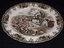 """Johnson Bros. England Friendly Village 11 1/2"""" Platter -Brown Mark Village Green"""