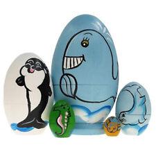 Russian Nesting Doll Handmade Dolphin Wooden Matryoshka Traditional Toys Gift BS