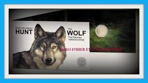 Coincard Estonie 2 Euro 2021 Le loup  Animal national estonien  Canis Lupus