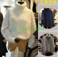 Womens Cashmere Mink Fur Sweater Warm Knitted Turtleneck Pullover Winter Stylish