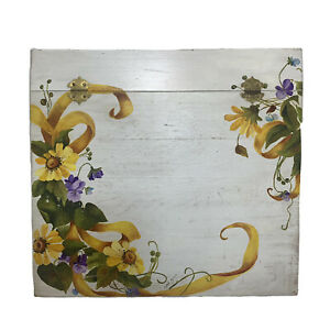 Vintage Hand Painted Writing Lap Desk Secretary Storage Country Daisy Floral