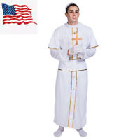 Adult Men's Pope Bishop Costume Fancy Dress Robe Cosplay Halloween Party Outfit