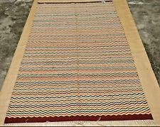 Tribal Turkish Flat Weave Kilim Wool Dhurrie Multicolor Hand Woven Area Rugs 5x8