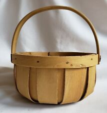 "Vintage Tender Heart Treasures 8"" Round Natural Woven Wood Basket with Handle"