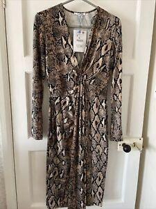 Ladies Zara Animal Print Snake Dress Autumn Winter Uk Small 8-10