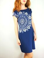 DESIGUAL Women's Short Cap Sleeve Scoop Neck Blue Dress size Large