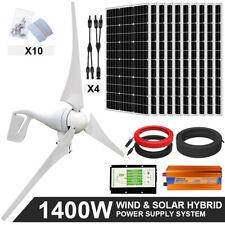 1400W 1000W 600W Hybrid System Kit 400W Wind Generators & 100W Mono Solar Panel