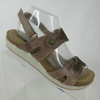 SPRING STEP L'Artiste Globe Taupe Grey Leather Adjustable Sandals Womens Size 9