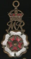 More details for crowned mr initials over a flower head enamel medal | pennies2pounds