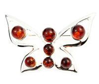 925 Sterling Silver & Baltic Amber Jewellery - AA803 - Designer Brooch