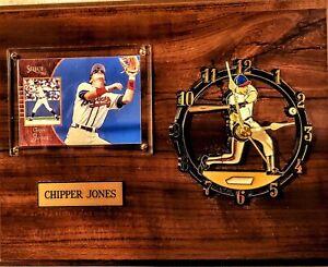 ATLANTA BRAVES CHIPPER JONES WALL CLOCK PLAQUE w/ SELECT CARD