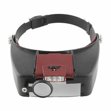 Headband Headset 10× Magnifier Magnifying Glass Loupe with LED Light tool S249
