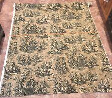 "Waverly Vintage Country Life Black Ivory Khaki Cotton Fabric 55"" X 446"" USA Made"