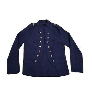 Camisa Ponte Knit Blazer Womens XL Royal Blue Button Open Front Mid Length Light