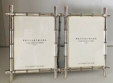 Pottery Barn Bamboo Photo Picture Frame Silver 3x4