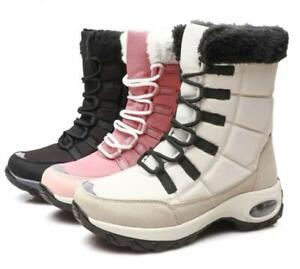 Womens Lace up Fur Lined Thicken Winter Warm Ankle Boots Casual Outdoor Shoes Sz