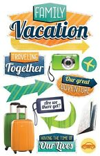 PAPER HOUSE FAMILY VACATION DIMENSIONAL 3D EPOXY GLITTER SCRAPBOOK STICKERS