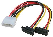 2x SATA 15 Pin Male Power Connecter 90° to 4 pin Molex Adapter Converter Cable