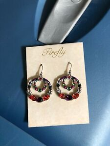 FIREFLY JEWELRY EARRINGS DOUBLE CIRCLE Amethyst SWAROVSKI CRYSTALS