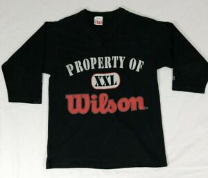 "Vintage "" Property of Wilson XXL"" Men's 3/4 Sleeve Jersey Style T-Shirt Size M"