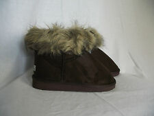 BNWT Ladies Sz 8 Cute Brown Cherrylane Mock Fur Trim Short Boot Style Slippers