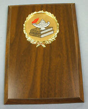 lamp of knowledge trophy plaque brown board 5 x 7