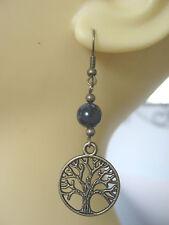 Larvikite Bronze Tree of Life Earrings Norwegian Moonstone  Pagan Hedgewitch