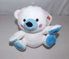 Fisher Price Bean Bag Plush Bear White Blue Baby Infant Toy Lovey  6""
