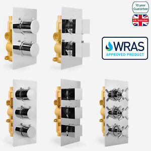 1 / 2 / 3 Way Chrome Concealed Thermostatic Shower Mixer Valve Solid Brass WRAS